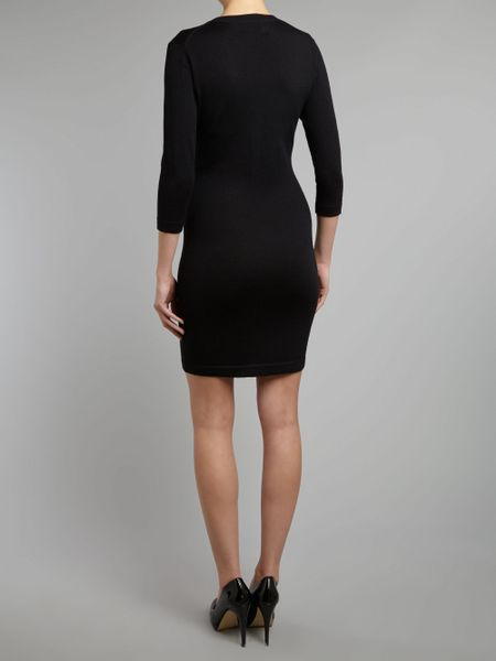Markus Lupfer Long Sleeve Knitted Sequin Star Dress In
