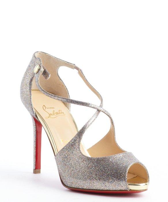 5fa2367f851 christian louboutin peep toe glitter pumps