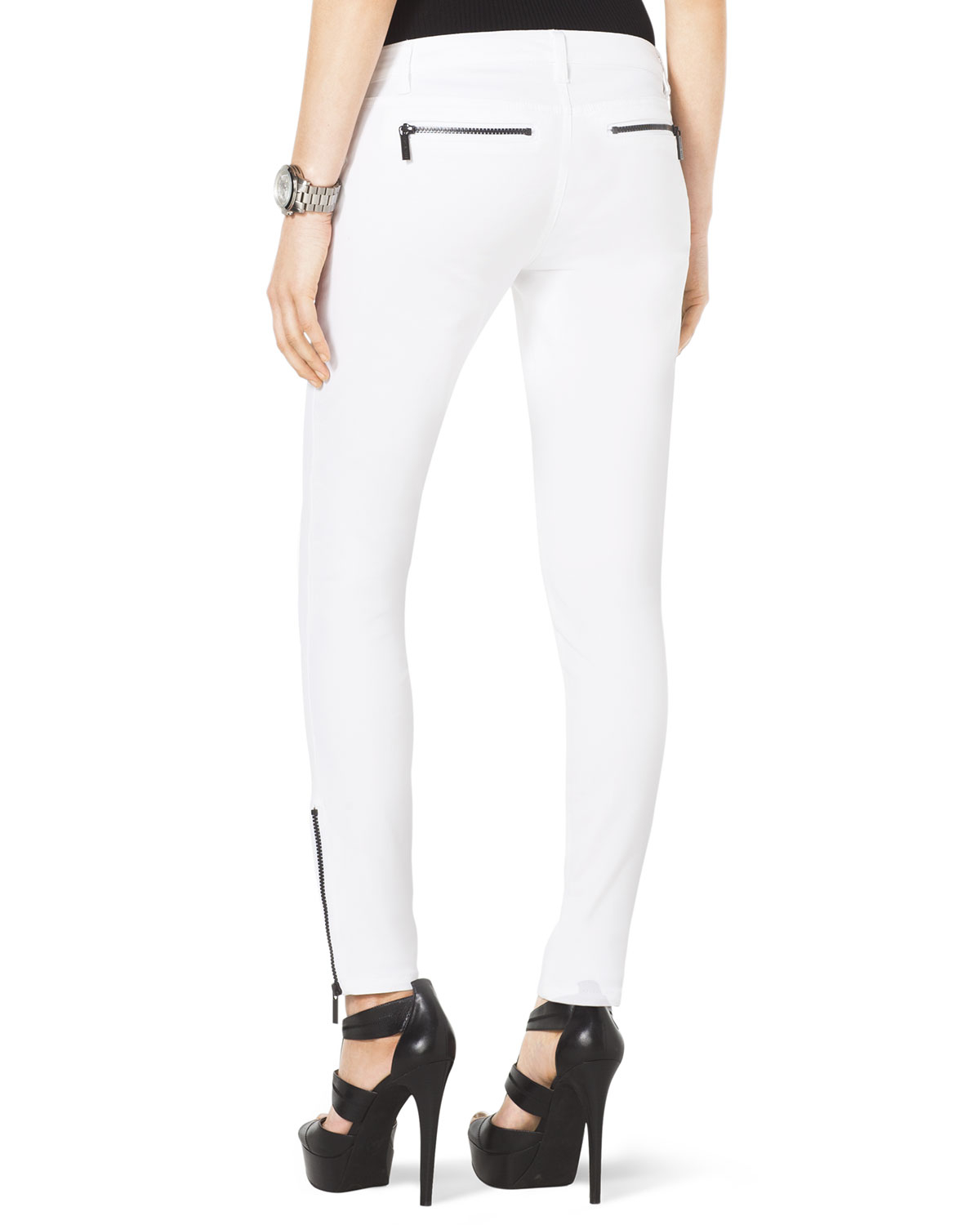 Michael michael kors Skinny Ankle Zip Jeans in White | Lyst
