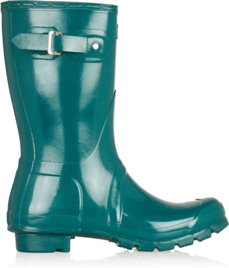 Hunter Original Gloss Short Wellington Boots In Blue Teal
