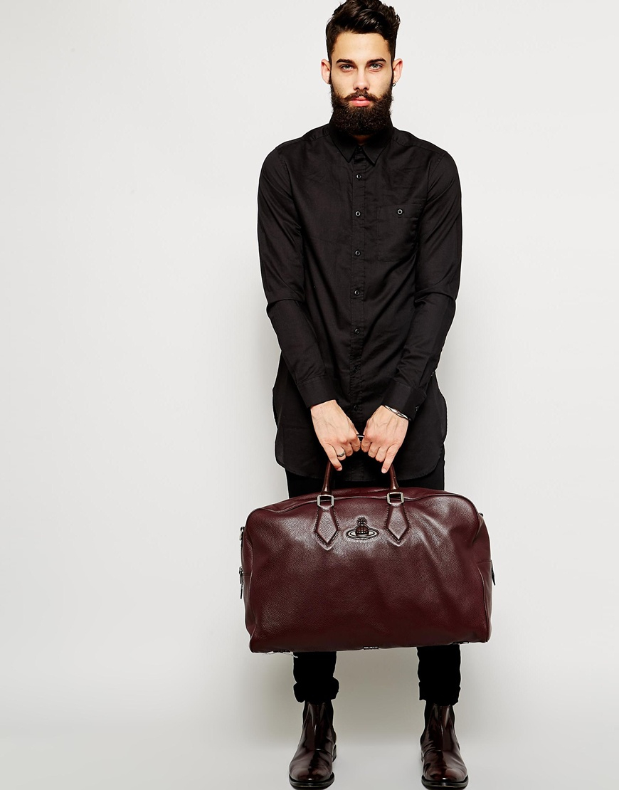 Vivienne westwood Leather Weekend Bag in Red for Men | Lyst