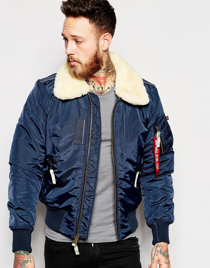 Lyst - Alpha Industries Contrast Bomber Jacket in Blue for Men 2d0f59338415