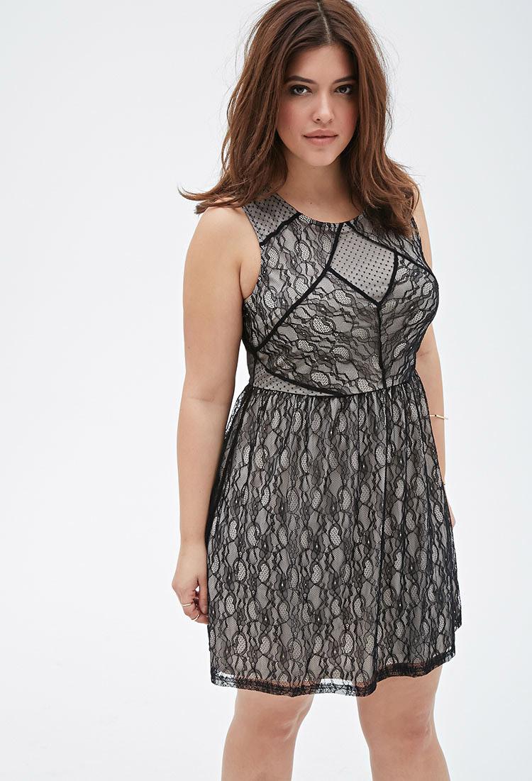 One shoulder black lace dress forever 21