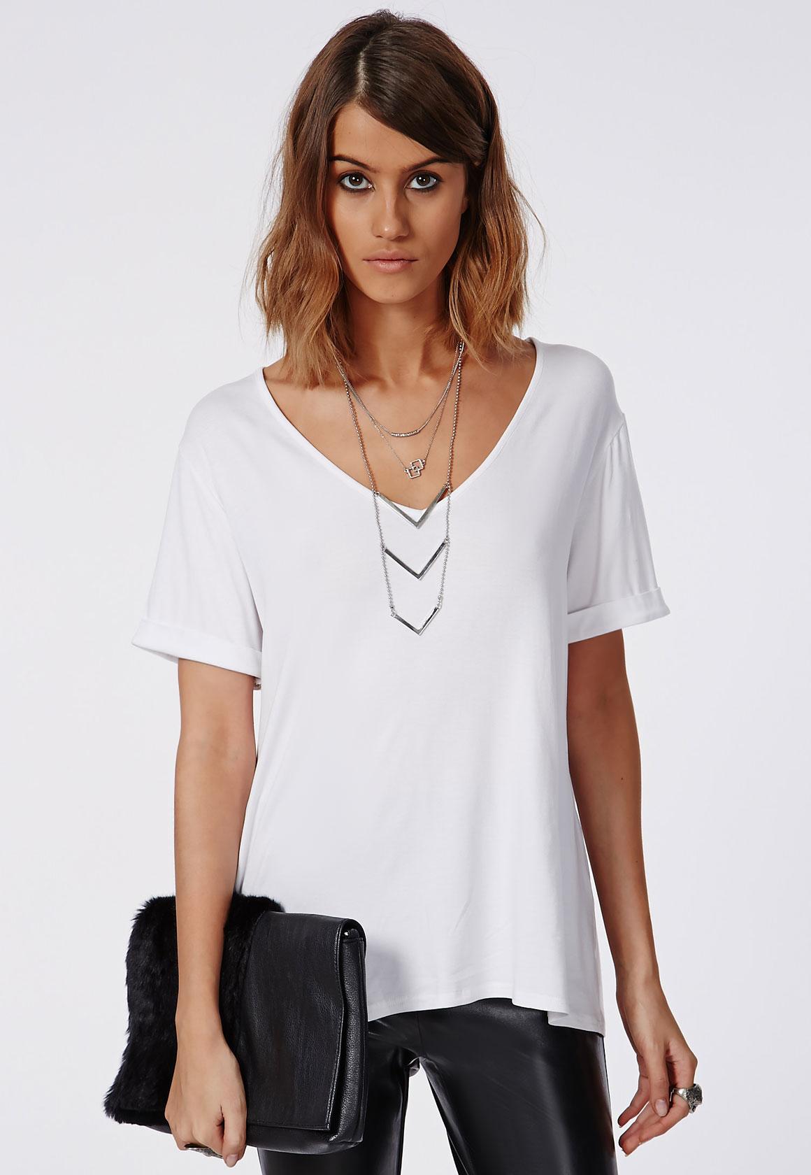 Missguided Tall Boyfriend V Neck T Shirt White In White Lyst