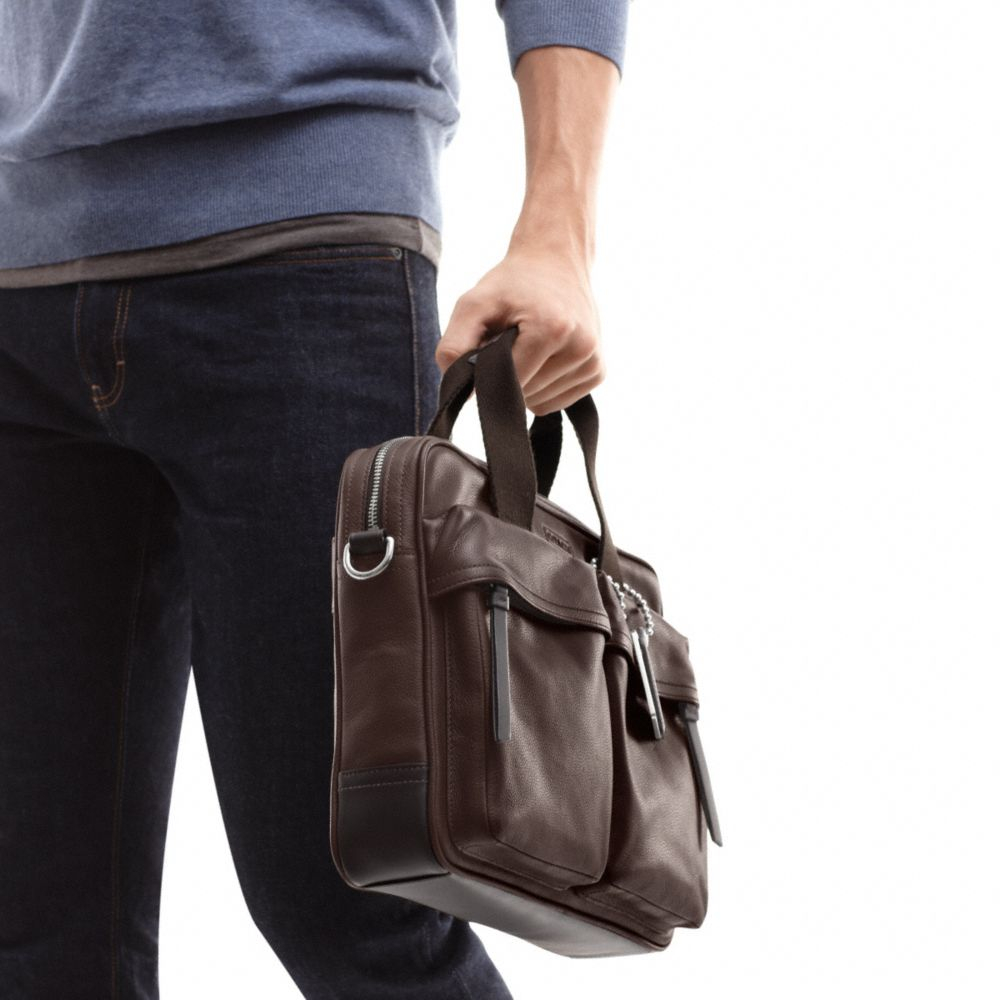 Coach Thompson Leather Slim Commuter In Brown For Men Lyst