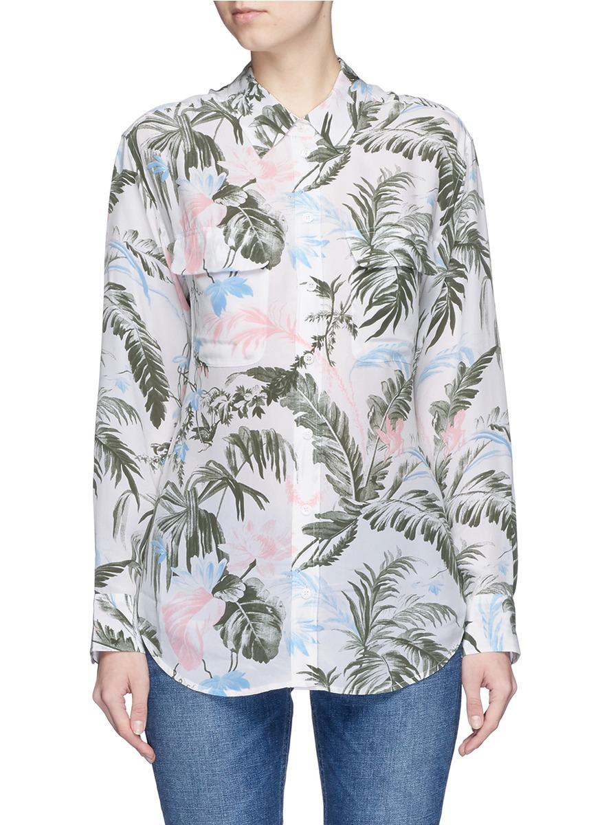 Equipment 39 signature 39 tropical print silk shirt lyst for Equipment signature silk shirt