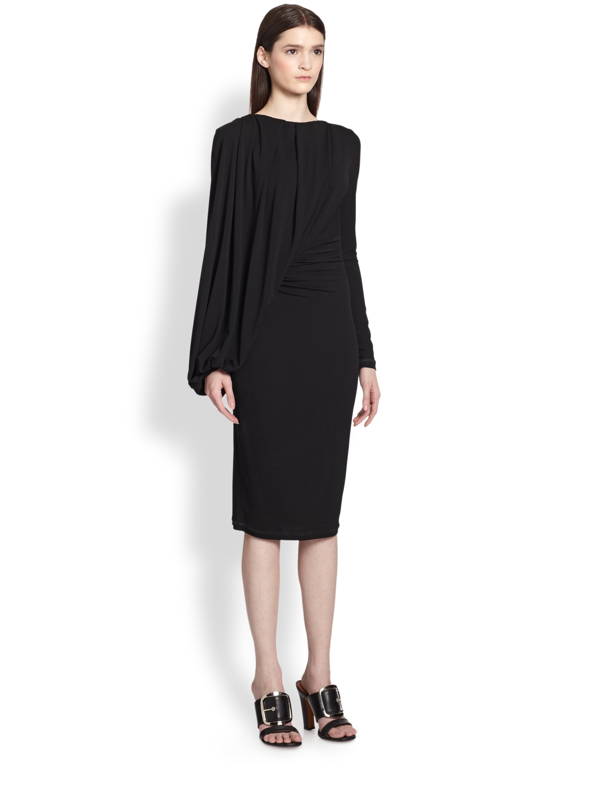 Lyst Givenchy Jersey Balloon Drape Dress In Black
