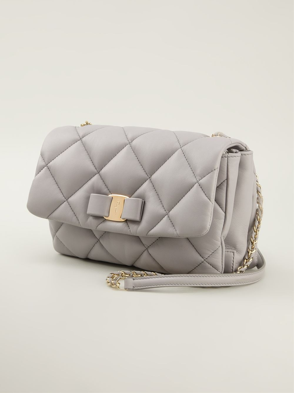 3e52cca0d8 Lyst - Ferragamo  Gelly  Quilted Shoulder Bag in Gray