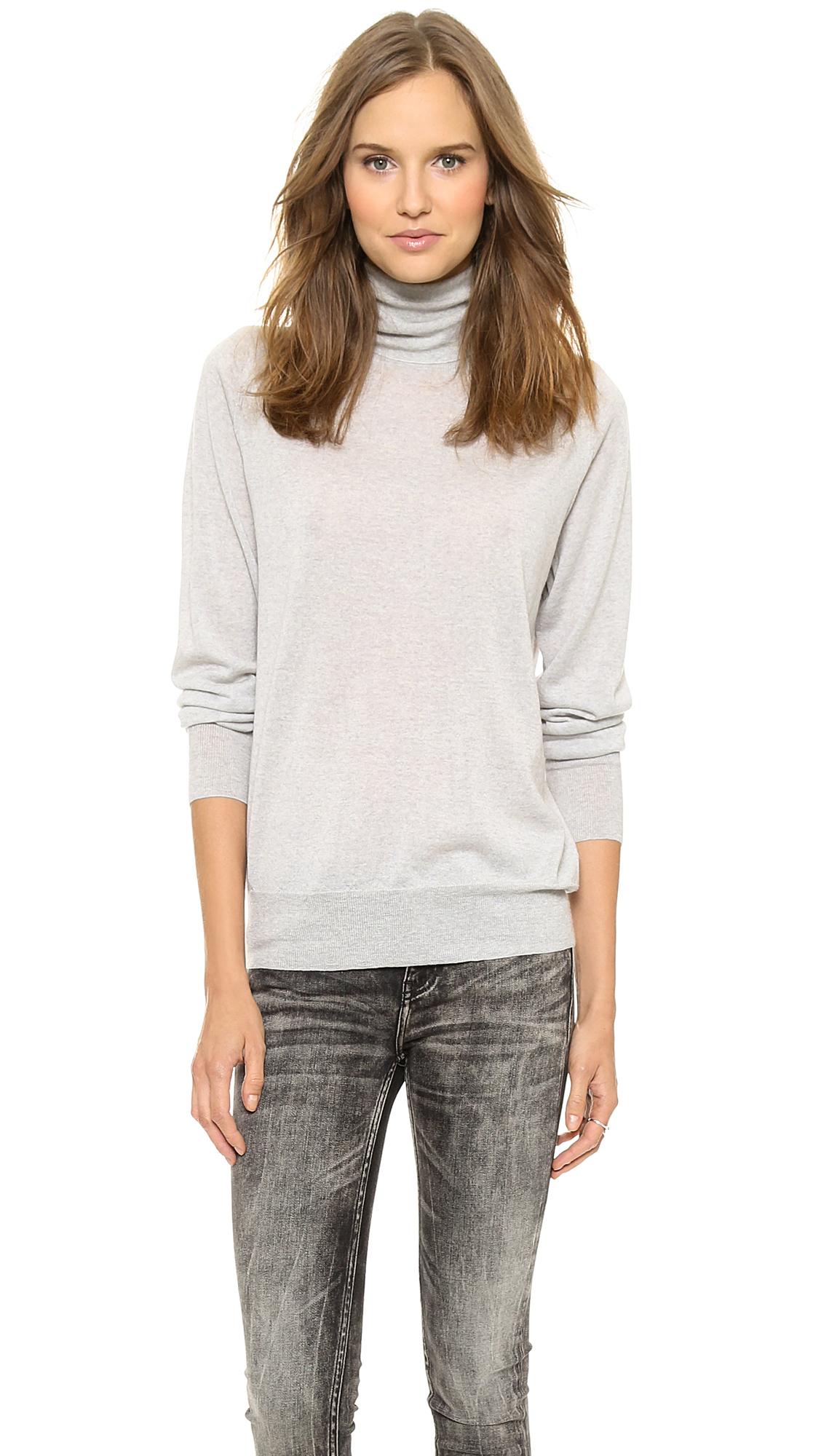 6397 Turtleneck Sweater Light Grey Heather in Gray | Lyst