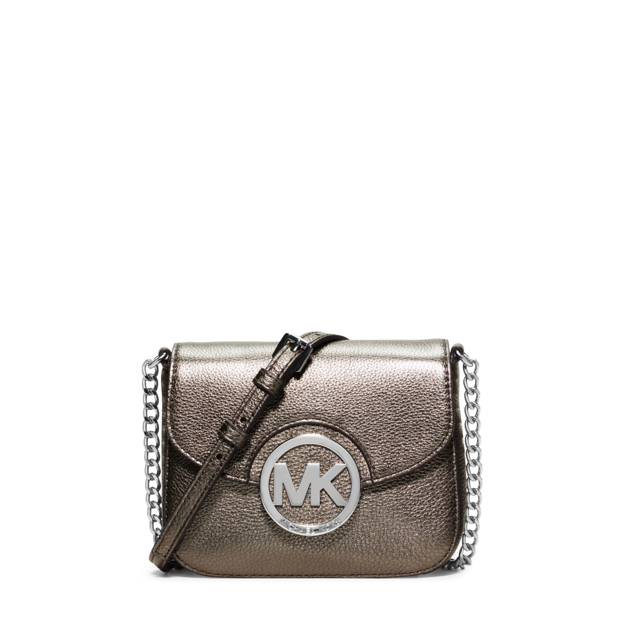 268cde75251c2 Lyst - Michael Kors Fulton Small Metallic Leather Crossbody in Metallic