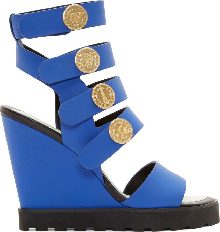 4e95cb18 KENZO Cobalt Leather Medallion Wedge Sandals in Blue - Lyst