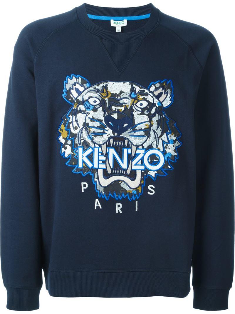 kenzo 39 moonmap tiger 39 sweatshirt in blue for men lyst. Black Bedroom Furniture Sets. Home Design Ideas