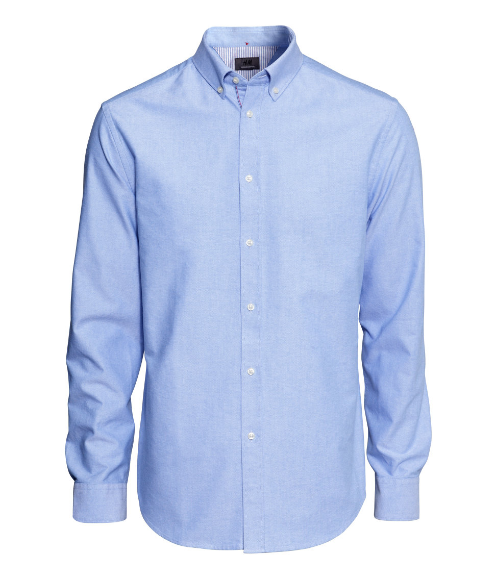 H m oxford shirt in premium cotton in blue for men lyst for Mens blue oxford shirt