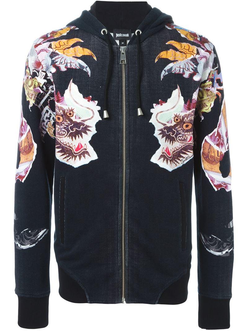 Lyst Just Cavalli Chinese Dragon Print Hoodie In Black