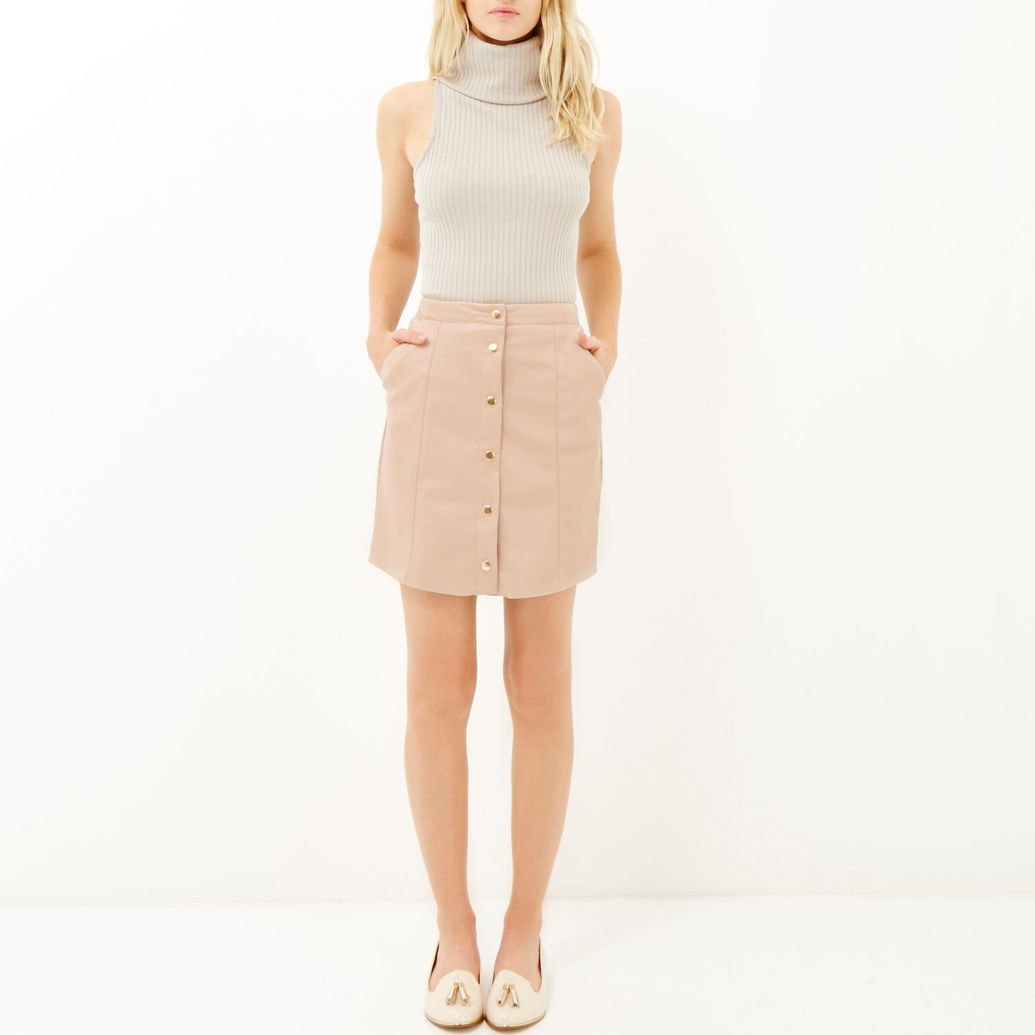 River island Pink Leather-look Button-up Skirt in Pink | Lyst