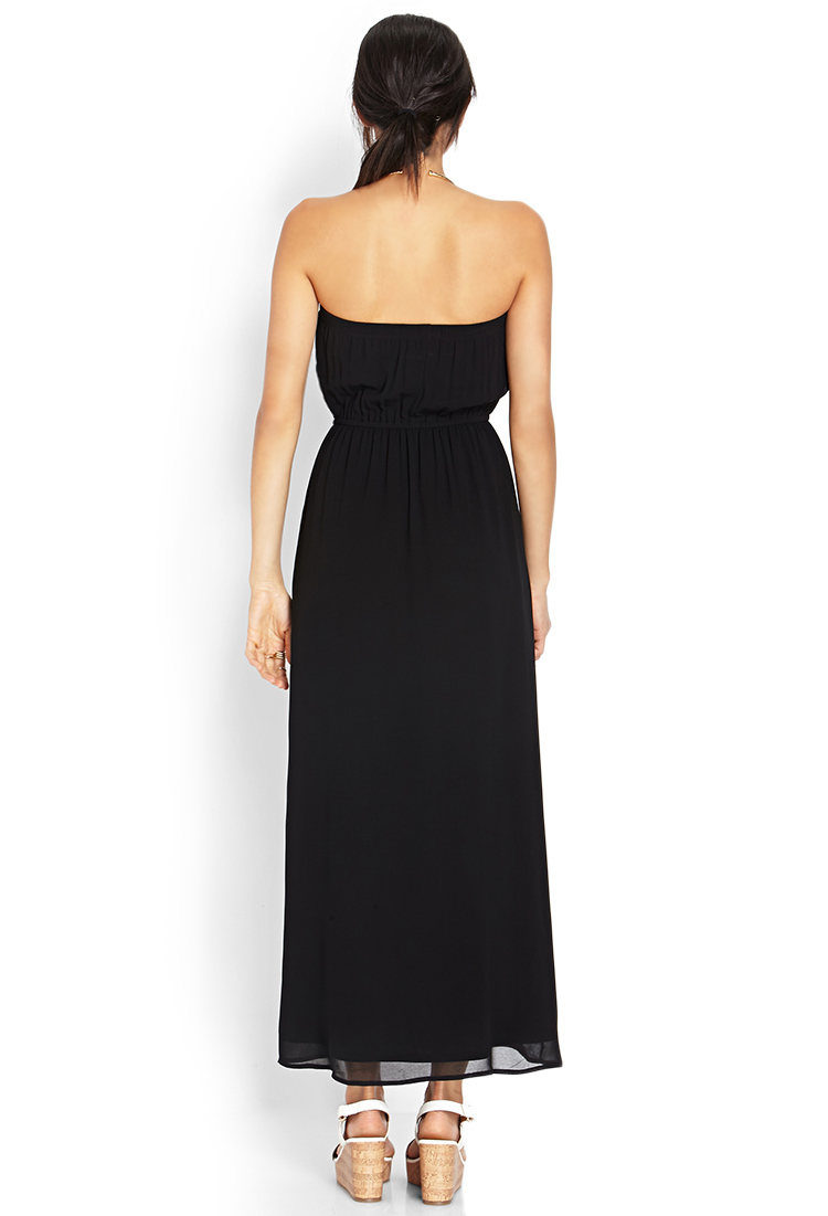 24b982cb53 Lyst - Forever 21 Maxi Chiffon Tube Dress in Black