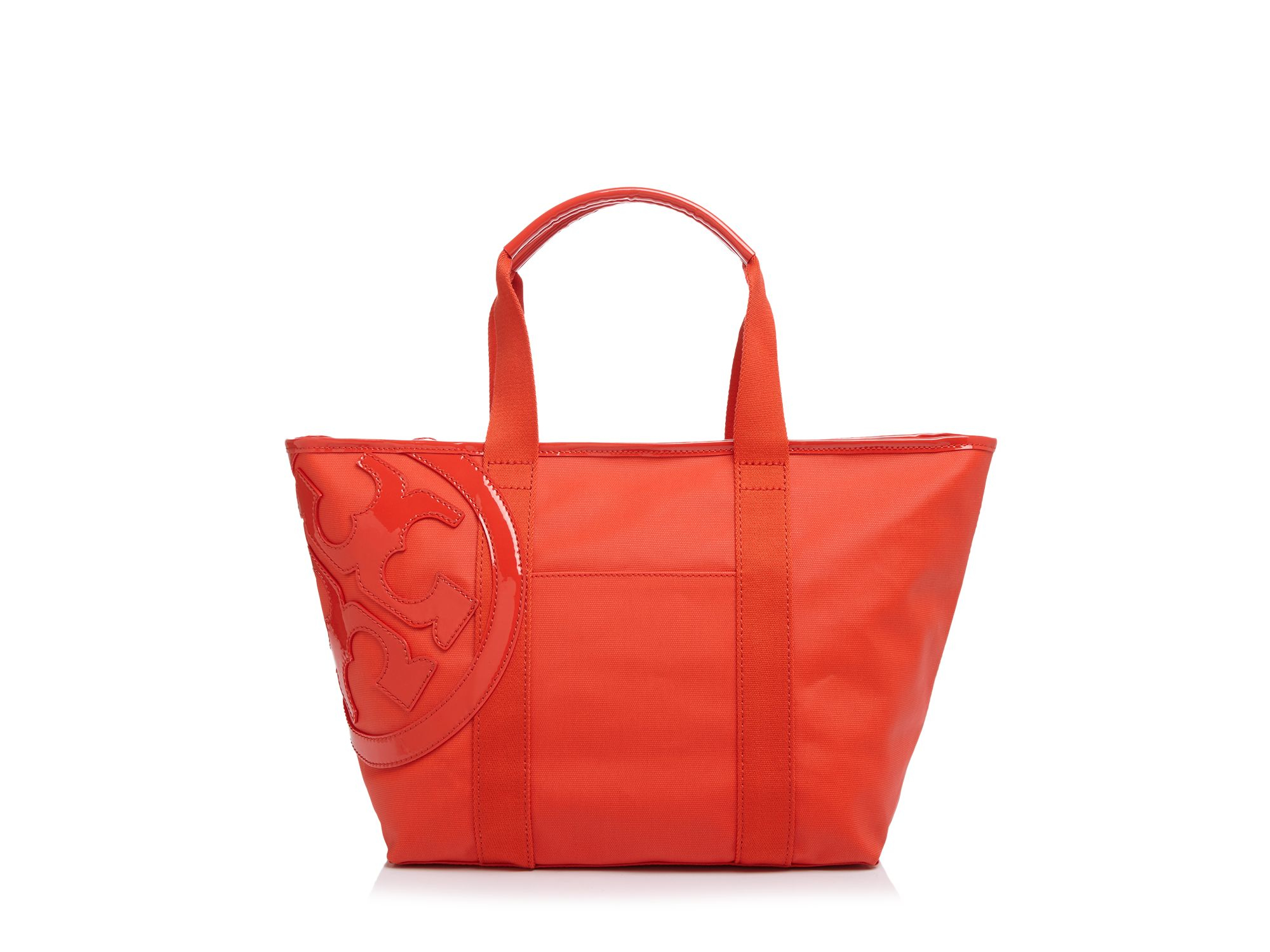 Tory burch Small Beach Canvas Tote in Red | Lyst