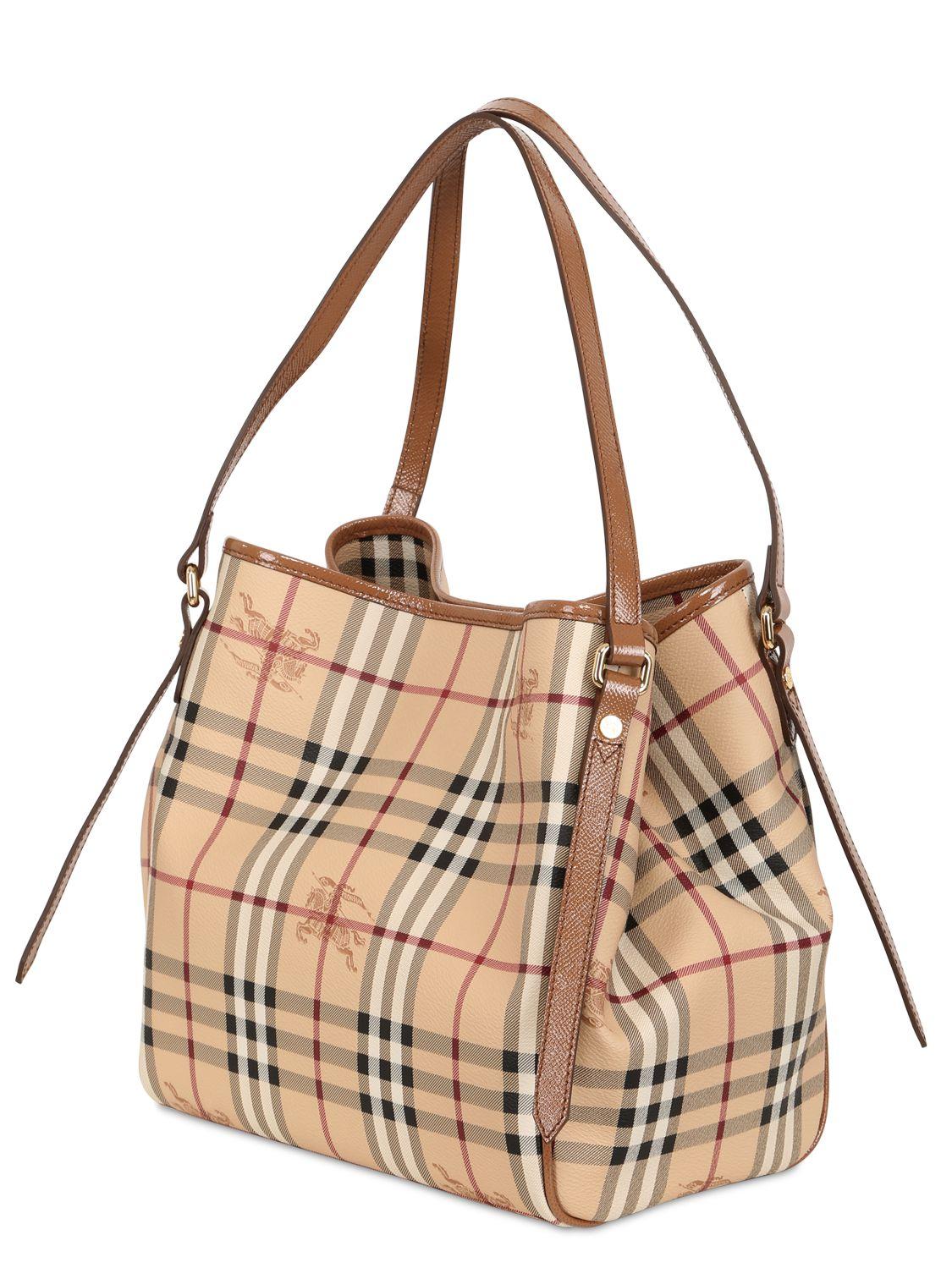 fe980aa17ca Lyst - Burberry Small Canterbury Haymarket Bag in Brown