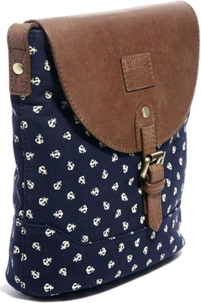 Jack Wills Waxed Cotton Side Bag In Blue Print Lyst
