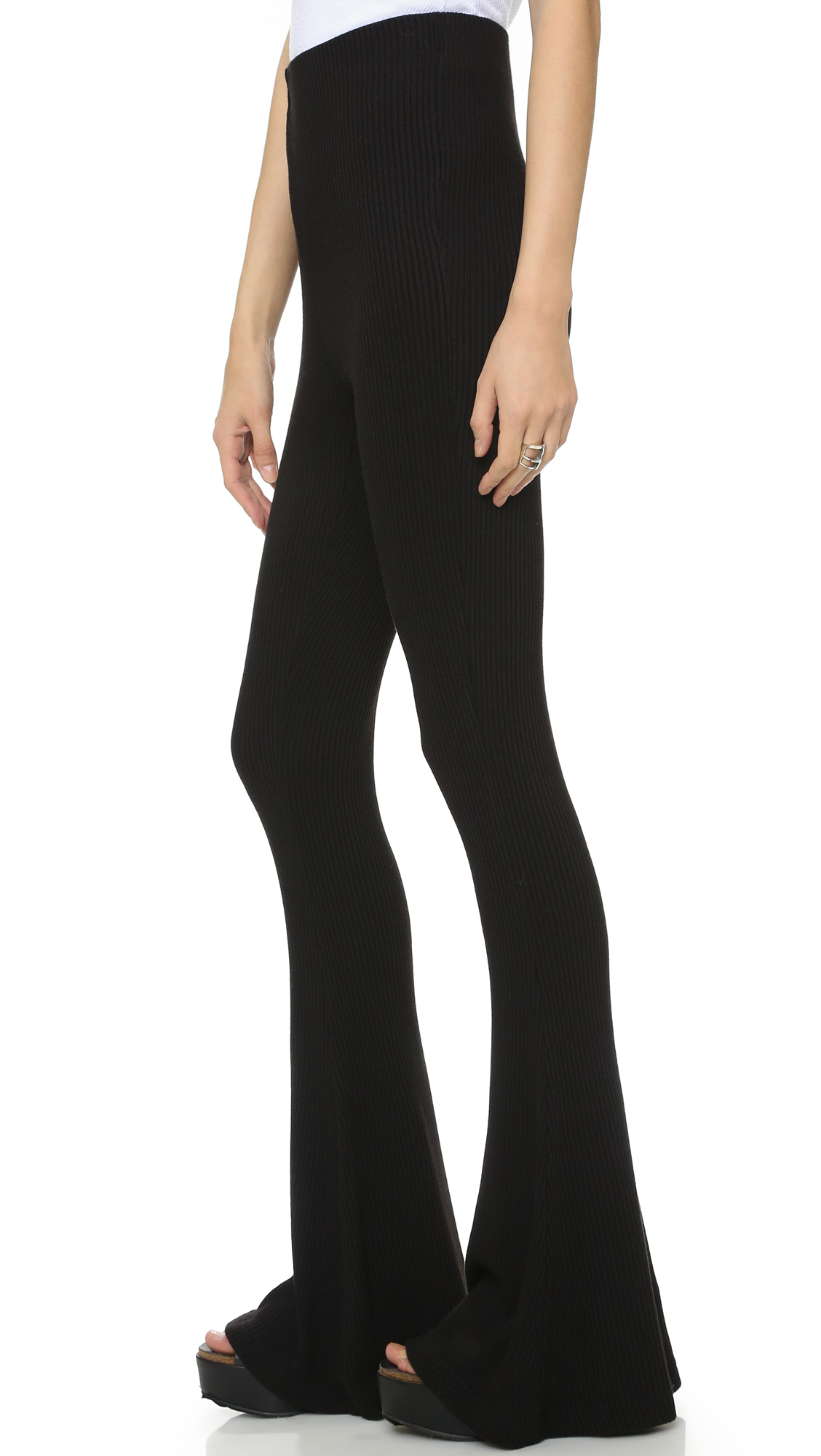 Free People Cozy Rib Flare Pants In Black Lyst