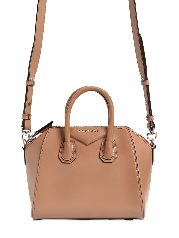 78c278f60607 Lyst - Givenchy Mini Antigona Shiny Leather Bag in Natural