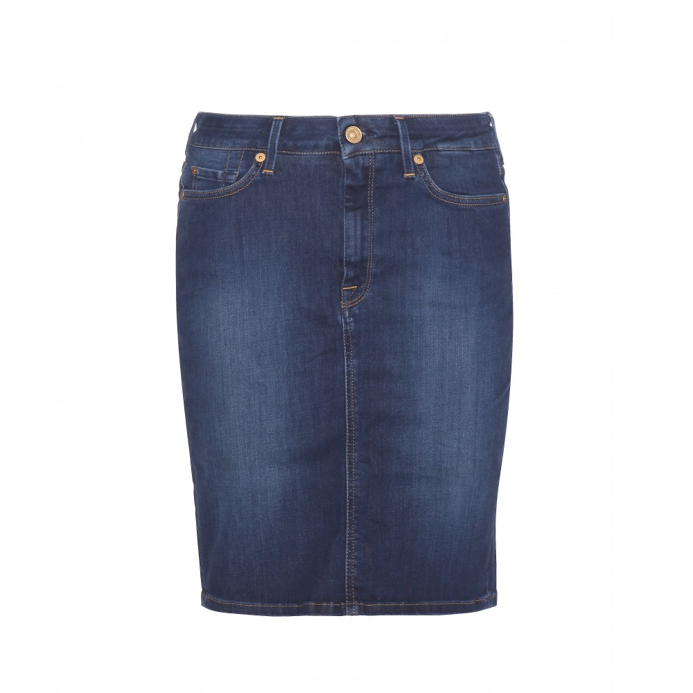 7 for all mankind denim pencil skirt in blue lyst