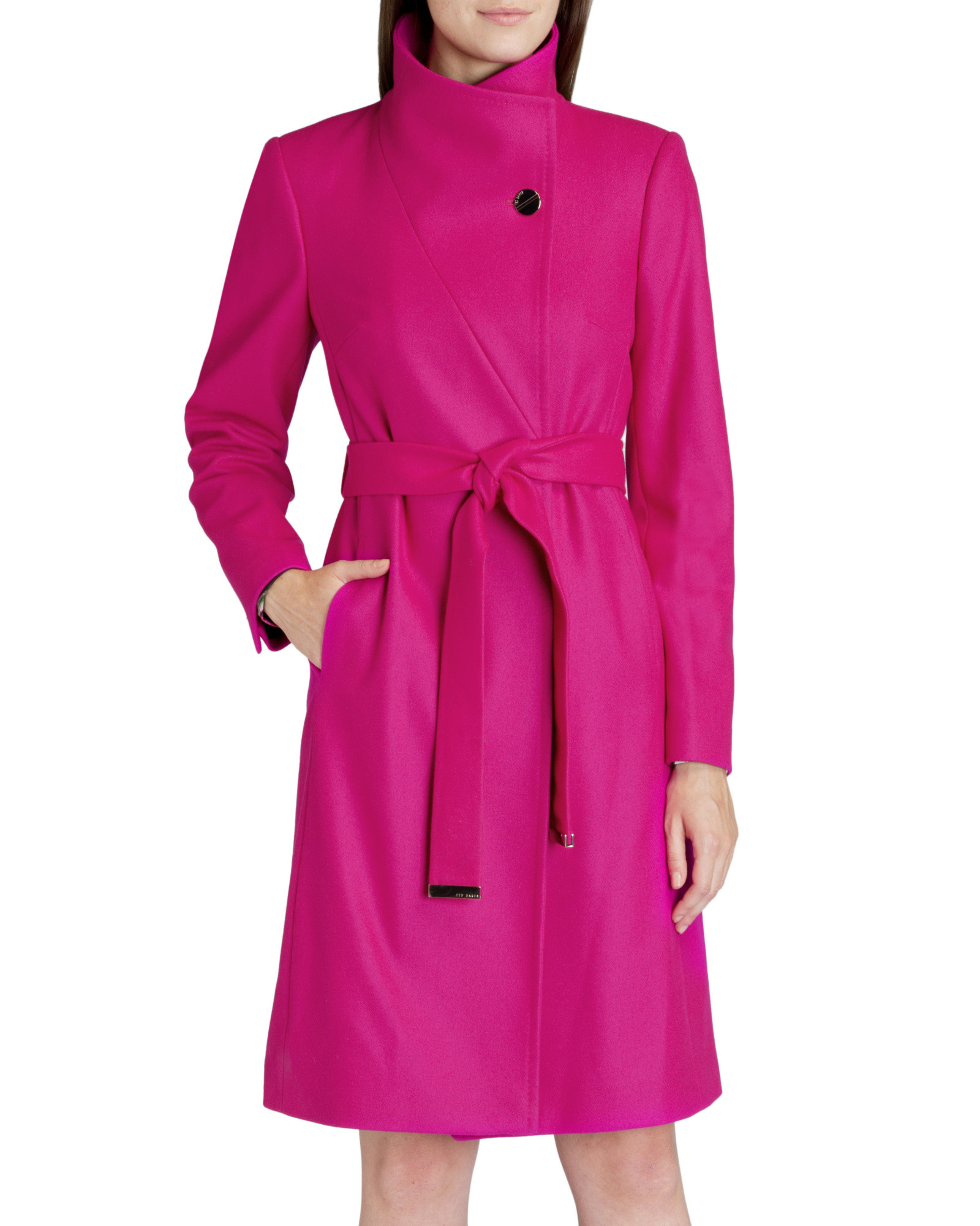 bee197ef6 Ted Baker Belted Wrap Coat in Pink - Lyst