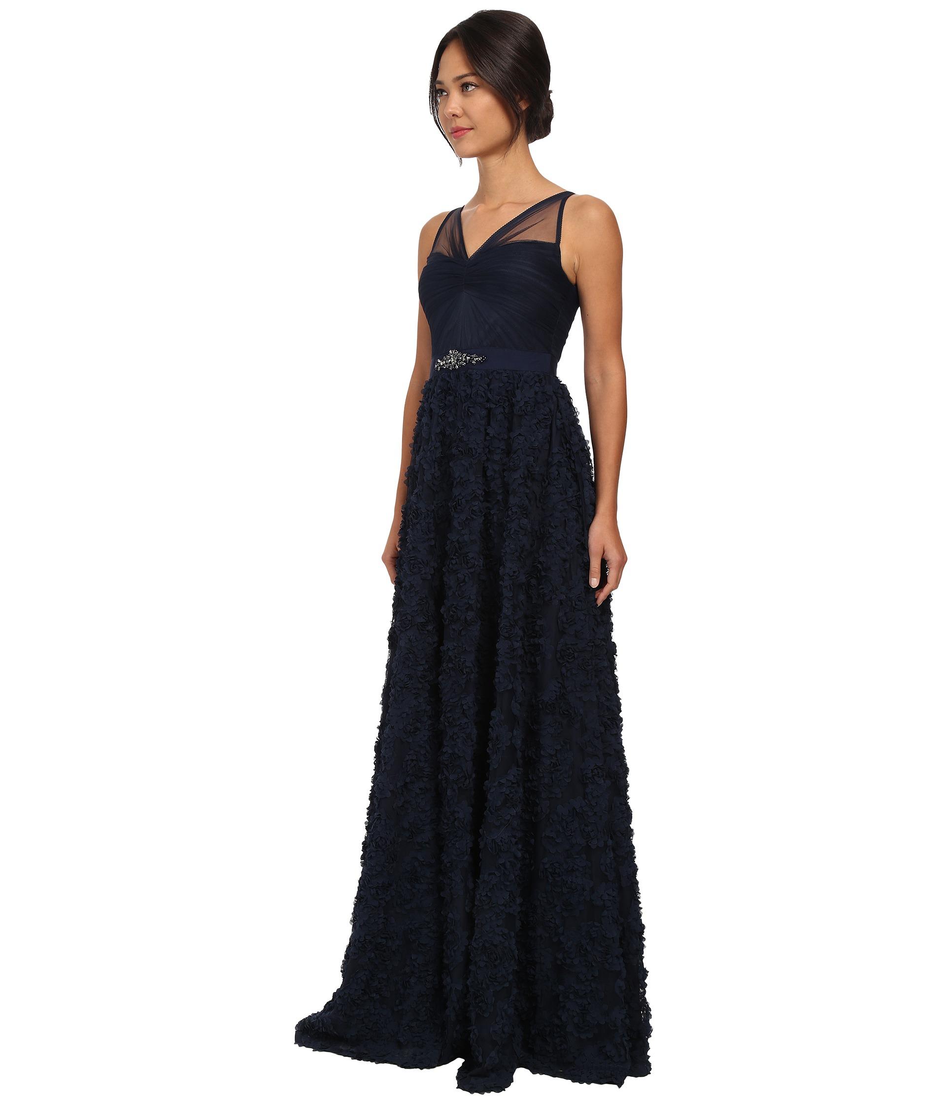 a0975226e68b Adrianna Papell Sleeveless Tulle Chiffon Petal Ballgown in Blue - Lyst