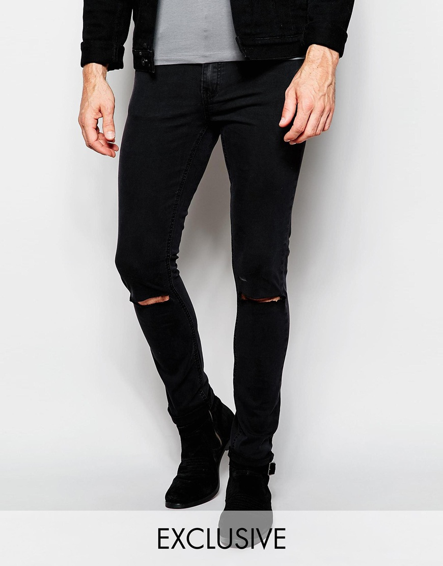 Cheap monday Jeans Tight Skinny Fit Very Black Ripped Knee in ...