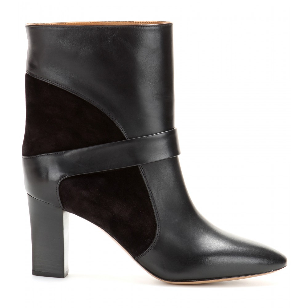 chlo 233 leather and suede boots in black lyst
