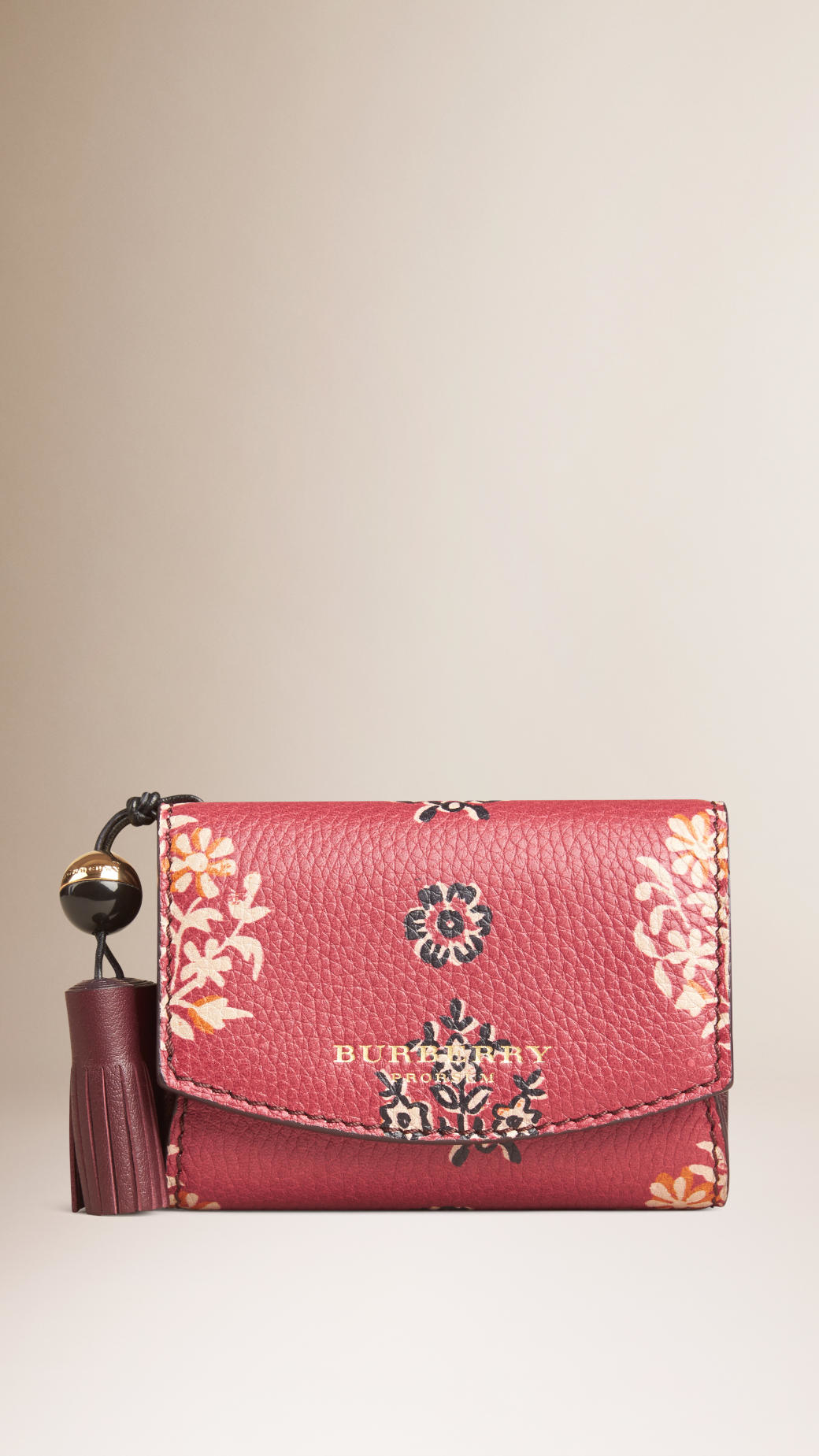 Burberry Ornate Floral Print Leather Wallet In Pink Lyst