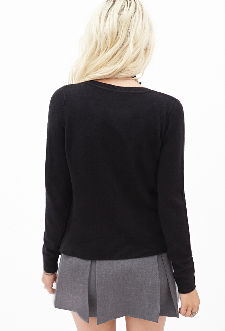 Forever 21 Faux Pearl Button-down Cardigan in Black | Lyst