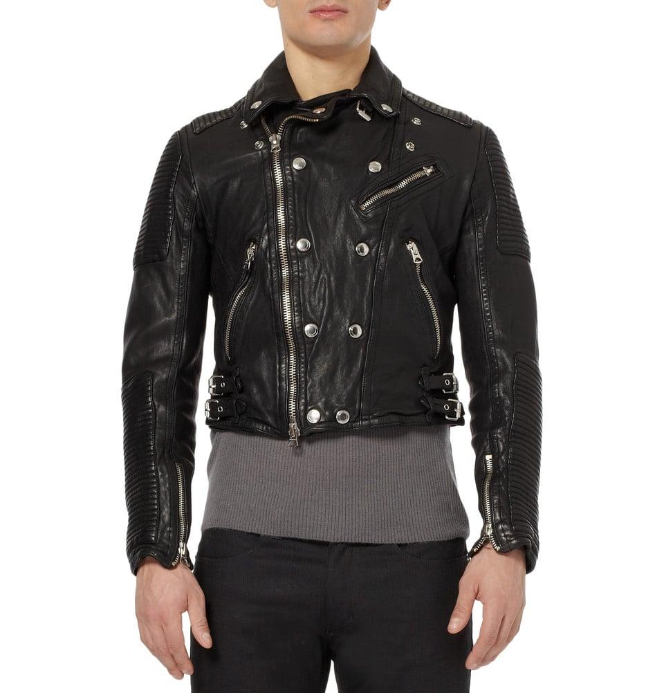 Burberry brit Leather Biker Jacket in Black for Men
