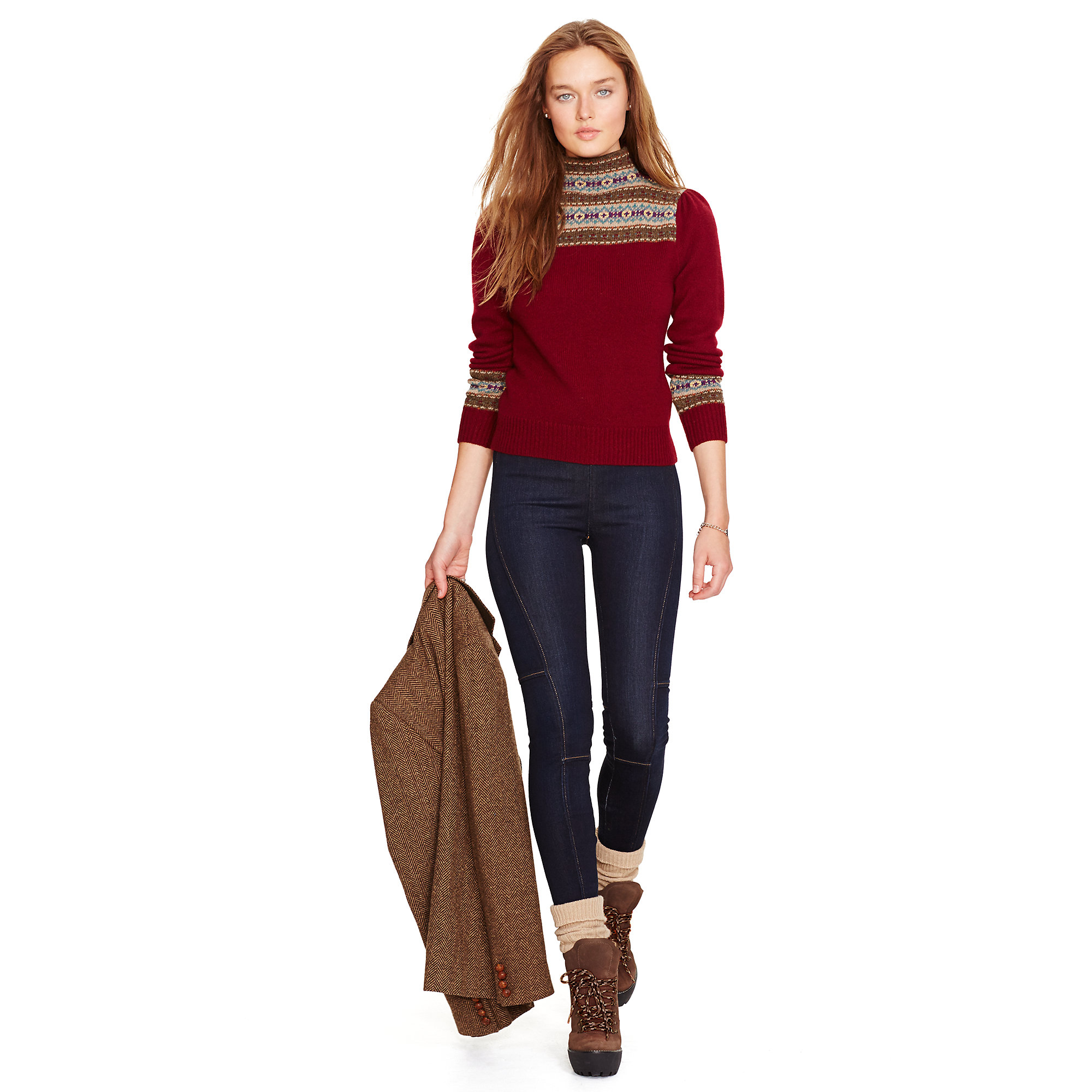 Polo ralph lauren Fair Isle Wool Turtleneck in Red | Lyst