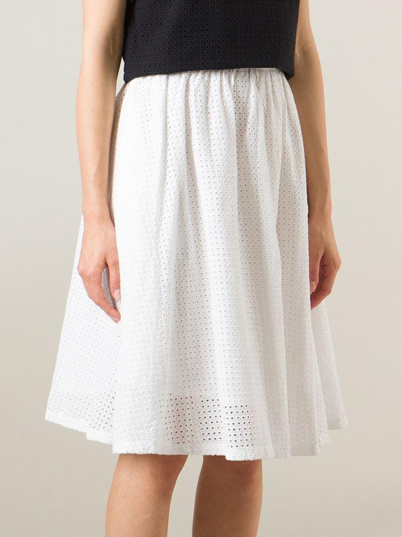 ymc high waist flared skirt in white lyst