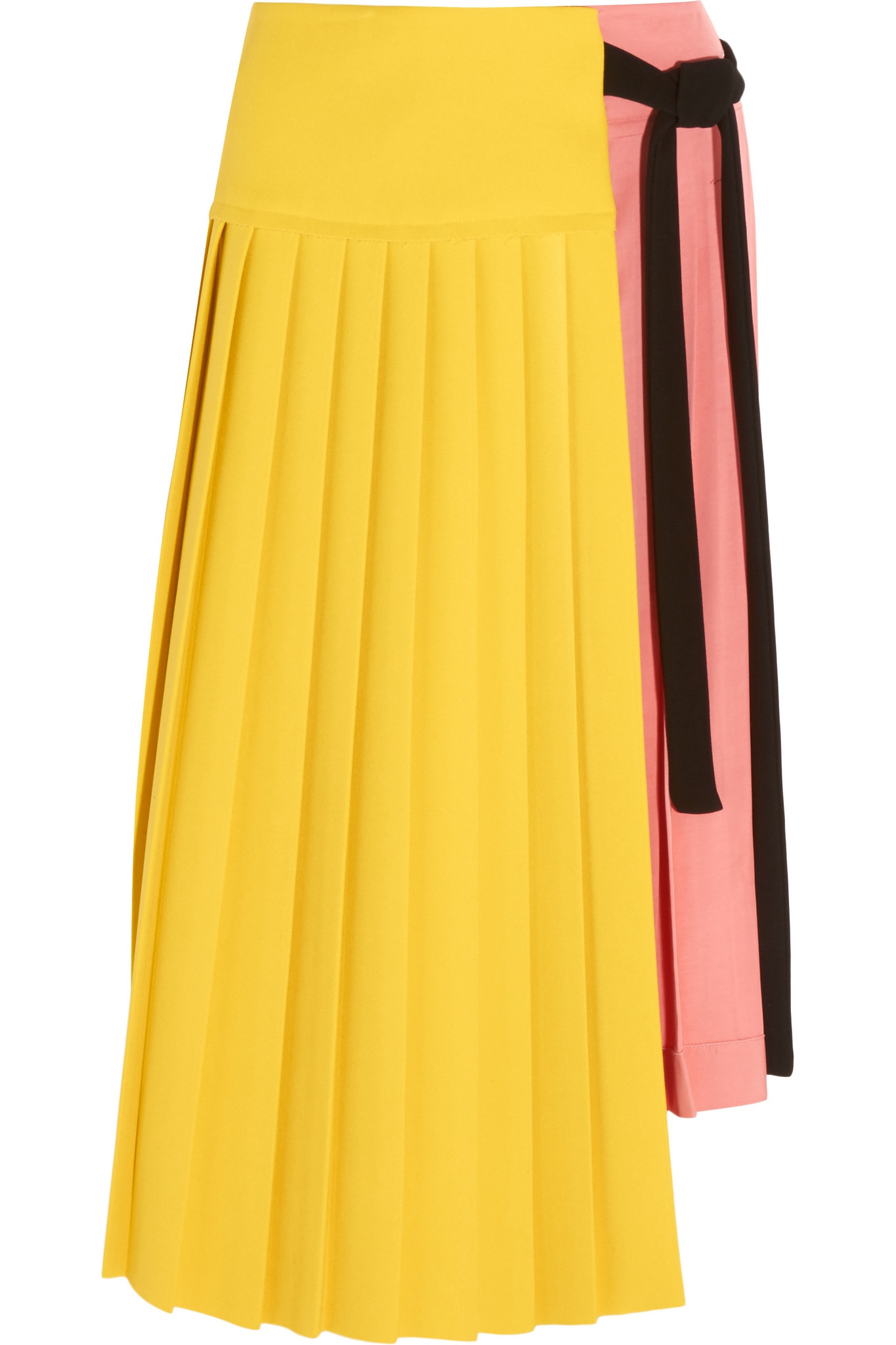 293c51531b Marni - Pleated Crepe And Satin Wrap Skirt - Yellow in Pink - Lyst