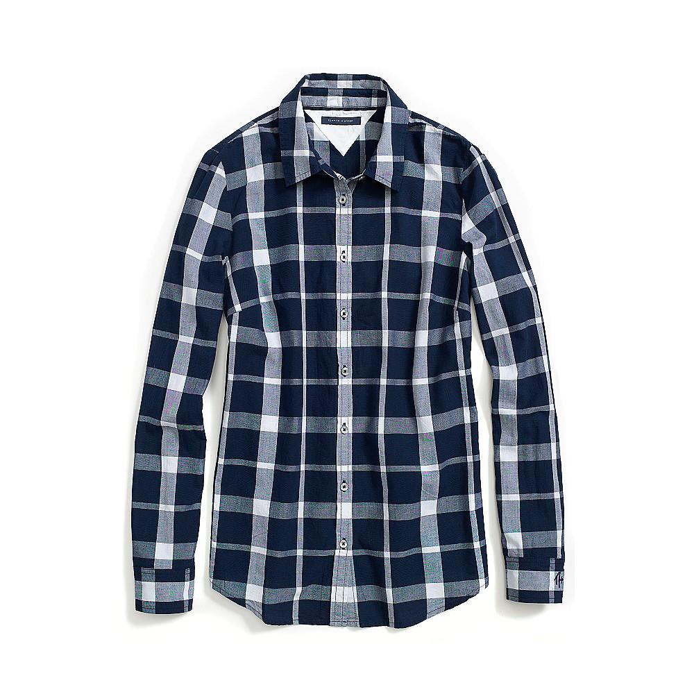 Tommy hilfiger two tone plaid shirt in blue navy blazer for Navy blue plaid shirt