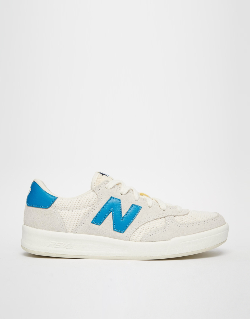 best service 852ba 334fe New Balance 300 White Royal Blue Suede Sneakers in White - Lyst