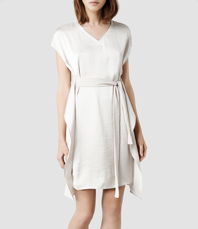3e527f189e3 Lyst - AllSaints Greta Dress in Natural