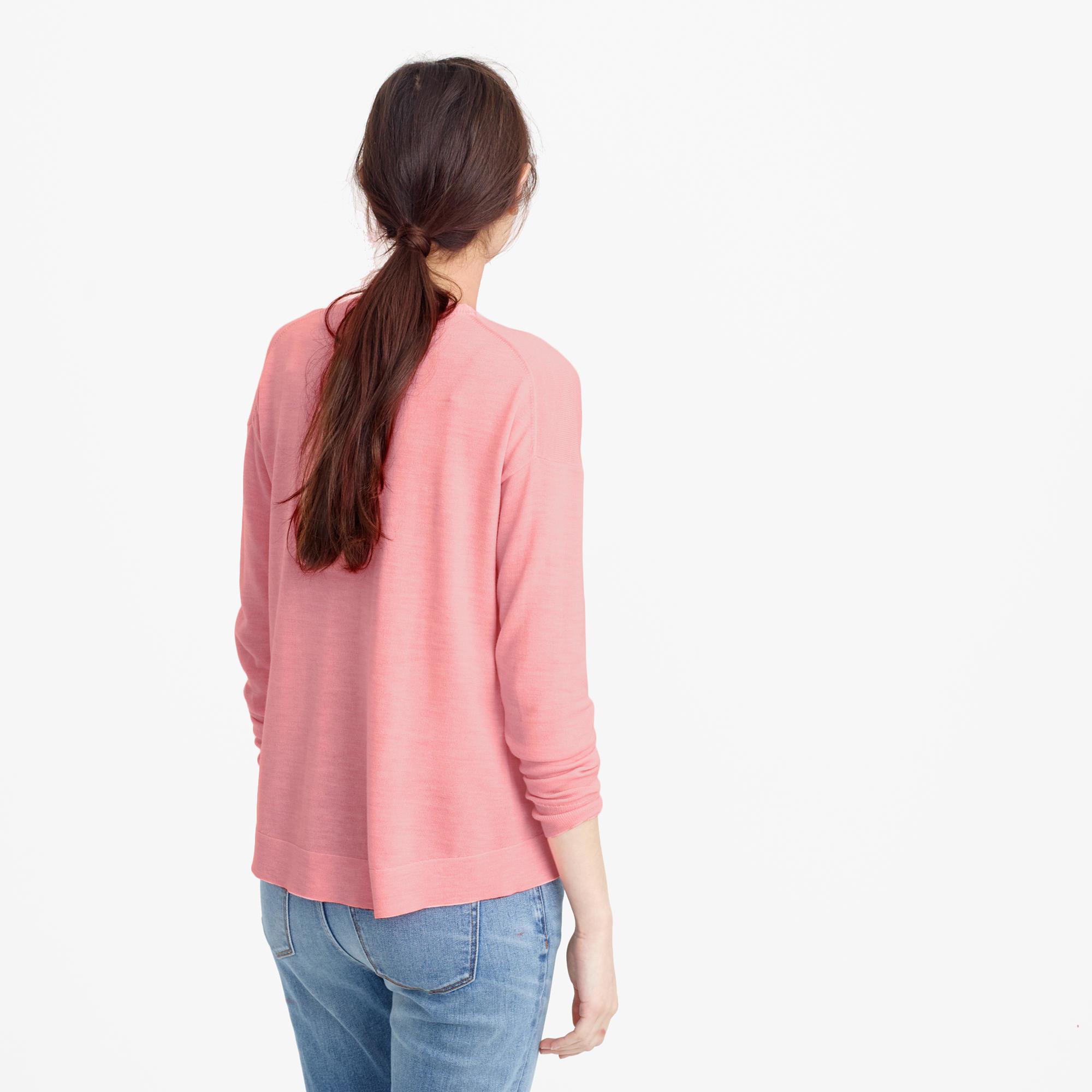 J Crew Lightweight Wool Tunic Sweater In Pink Lyst