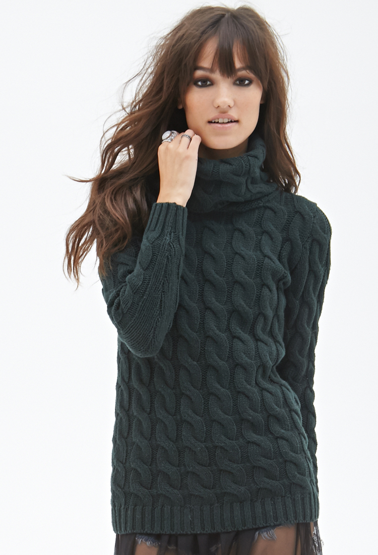 Lyst Forever 21 Cable Knit Turtleneck Sweater In Green