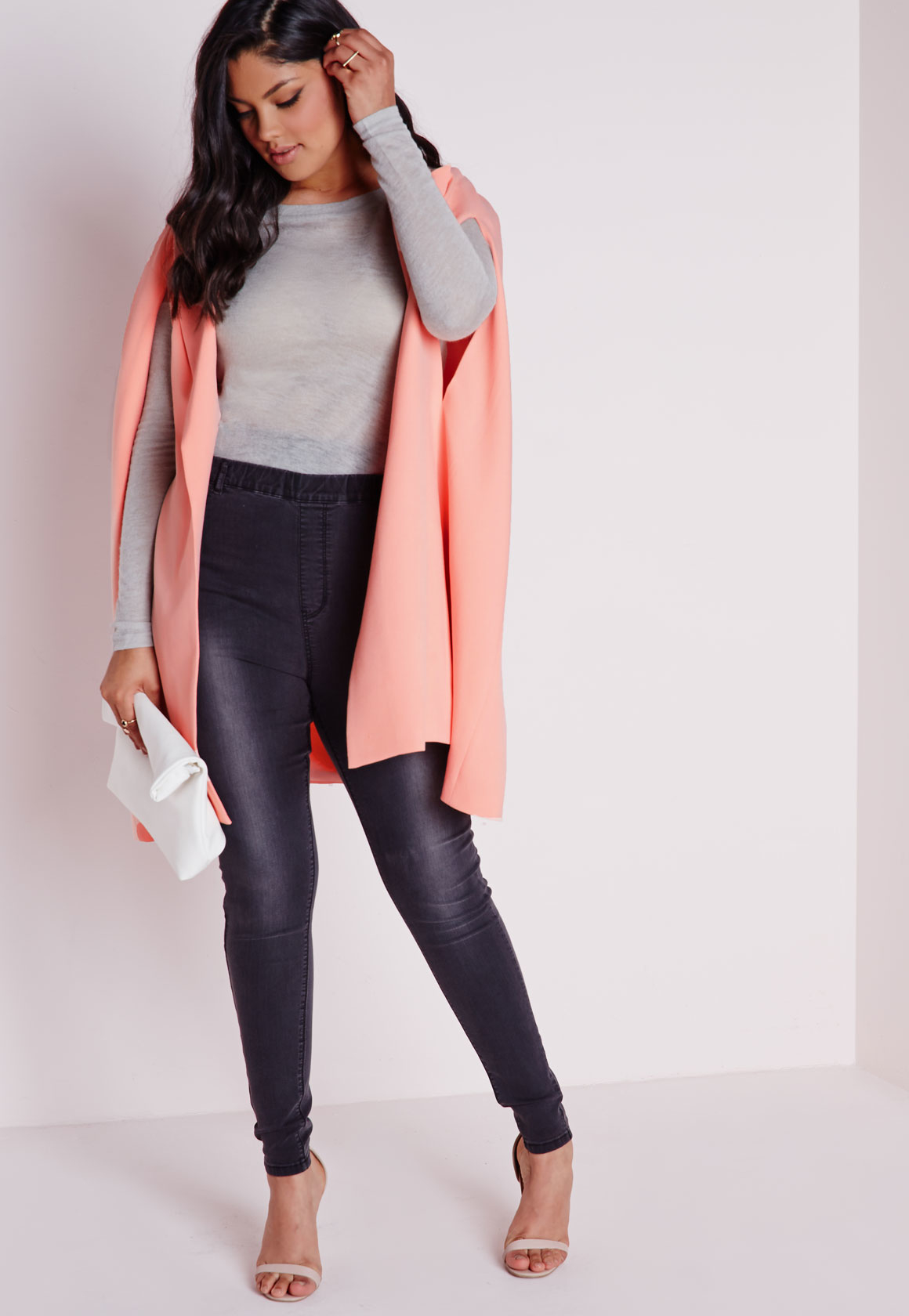 58c1b44f229 Lyst - Missguided Plus Size Cape Blazer Crepe Blush in Pink