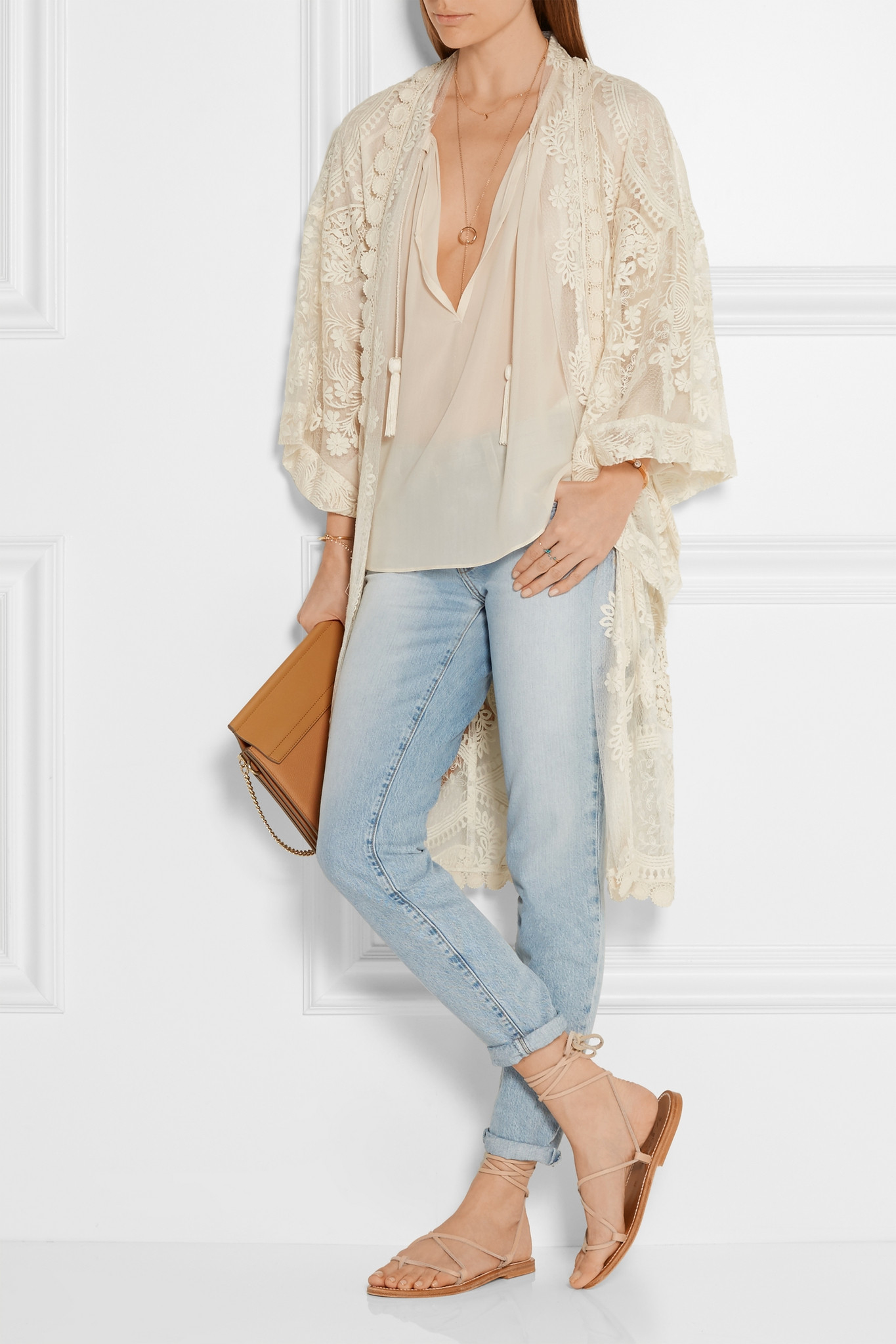 Anna sui Crochet-trimmed Embroidered Tulle Kimono Jacket | Lyst