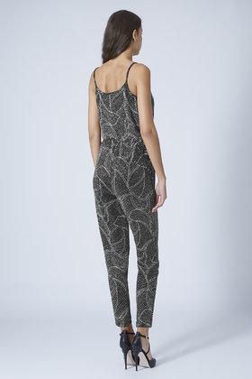 374a94b322b Lyst - TOPSHOP Petite Glitter Leaf Wrap Jumpsuit in Metallic