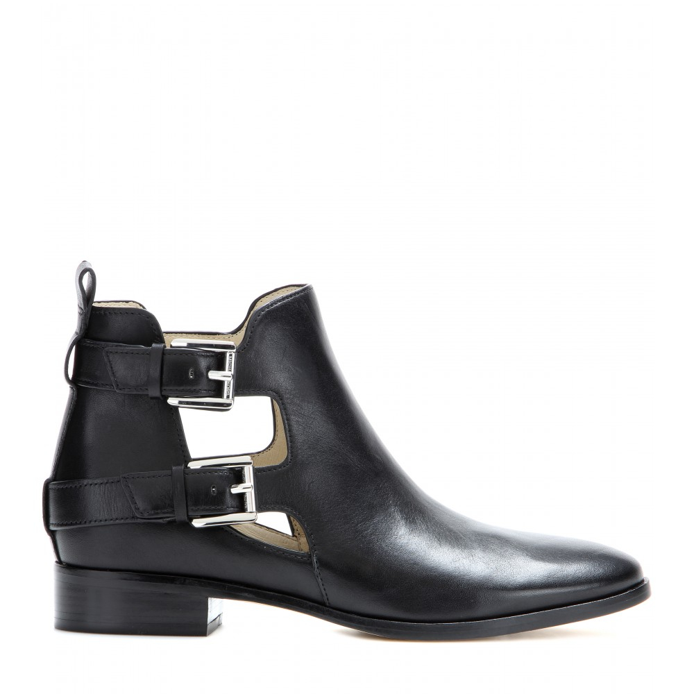 michael michael kors anya leather ankle boots in black lyst