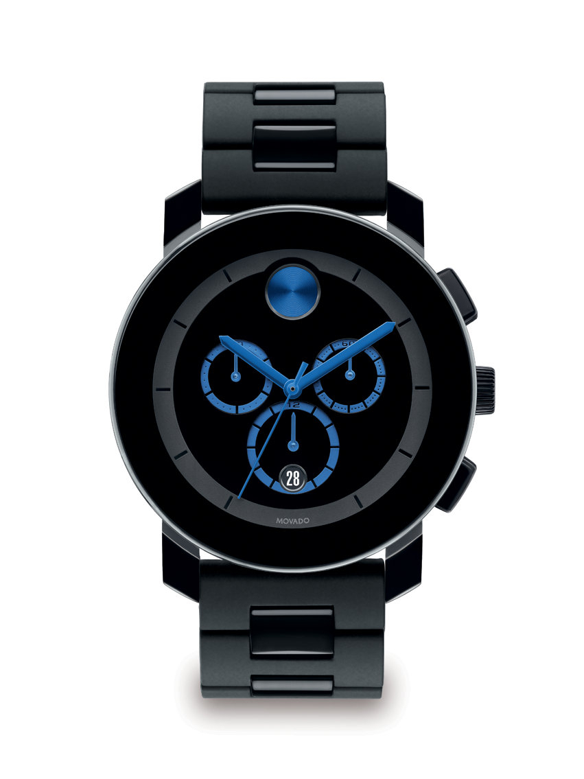 movado large bold chronograph in black for lyst