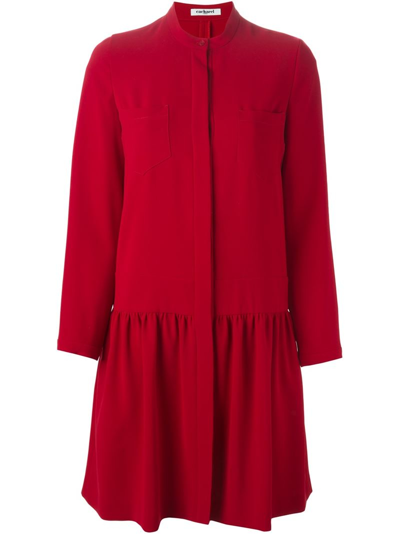Cacharel Band Collar Blouse Dress in Red | Lyst