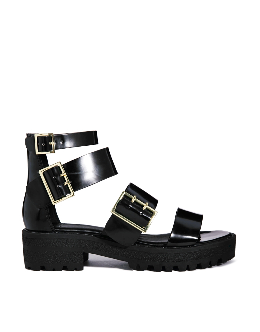 3ec257a62fe Lyst - ASOS Freetown Chunky Flat Sandals in Black