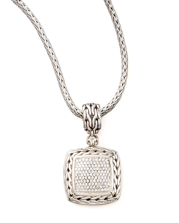 John Hardy Square Pave Diamond Pendant In Metallic Lyst