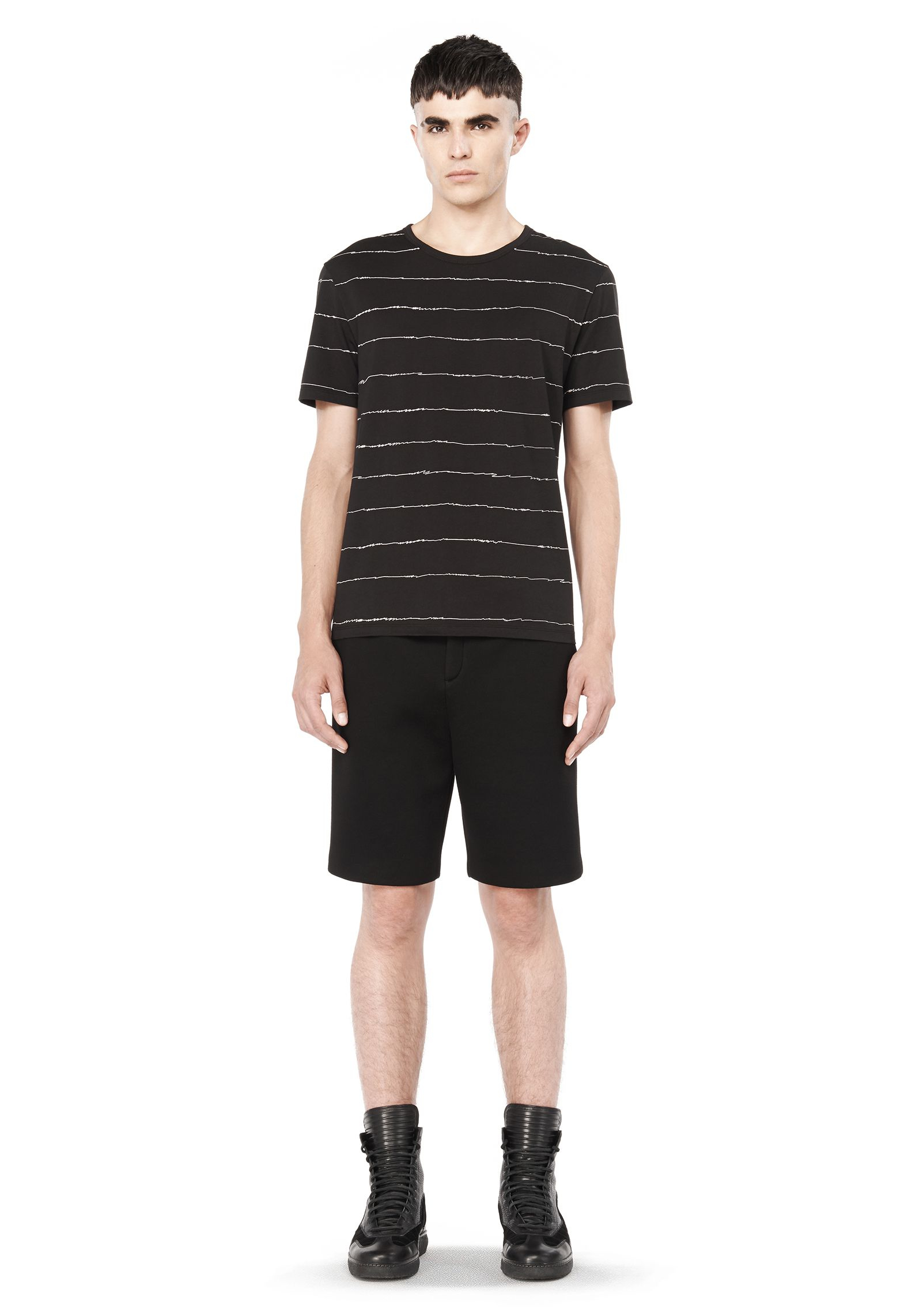 T by alexander wang printed scribble tee shirt in black for Alexander wang t shirts
